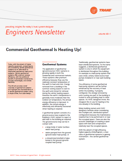 Engineers Newsletter Providing Insights For Today's Hvac System Designer © ۲۰۱۱ Trane, A Business Of Ingersoll Rand. All Rights Reserved. 1 Volume 40 –۱