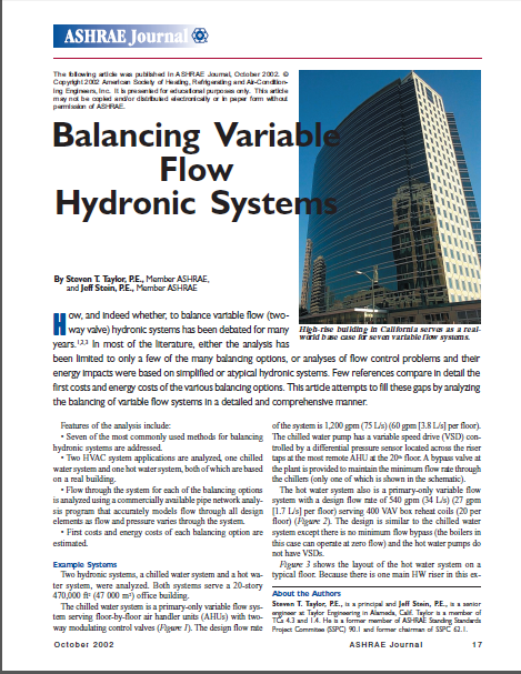 ASHRAE Journal - Balancing Variable Flow Hydronic Systems-Taylor & Stein