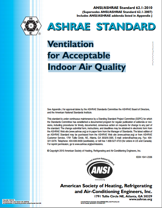 ASHRAE STANDARD ANSI/ASHRAE Standard 62.1:Ventilation For Acceptable Indoor Air Quality