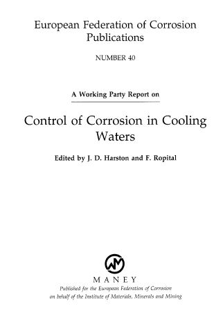 Control Of Corrosion In Cooling Waters